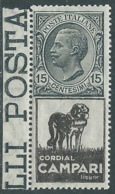 1924-25 REGNO PUBBLICITARI CORDIAL CAMPARI 15 CENT MH * - RB7 - Publicity