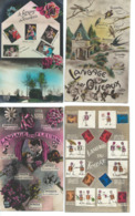 Lot De 7 Cartes Fantaisie  Langage Des Timbres, Des Fleurs, Des Oiseaux, Thermomètre De L'Amour - France
