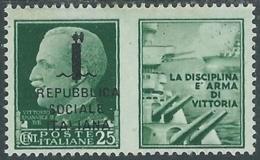 1944 RSI PROPAGANDA DI GUERRA 25 CENT MH * - RB5-9 - Propagande De Guerre