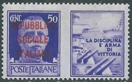 1944 RSI PROPAGANDA DI GUERRA 50 CENT MNH ** - RB5-8 - Propagande De Guerre