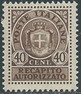 1945 LUOGOTENENZA RECAPITO AUTORIZZATO 40 CENT MNH ** - RB6-7 - 5. 1944-46 Lieutenance & Umberto II