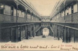 1906 SUDAFRICA , TARJETA POSTAL CIRCULADA , ARCADE INTERIOR - PORT ELIZABETH - Sudáfrica