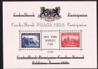 PRAGA 1938 Block Overprinted For Canadian National Exh, Then New York 1939 World's Fair  -In Original Folder.  MNH - Tschechoslowakei/CSSR