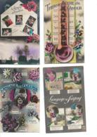 Lot De 8 Cartes Fantaisie  Langage Des Timbres, Des Fleurs, Des Saisons, Des Baisers, Thermomètre De L'Amour - France