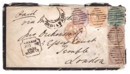 Lettre 1868 Inde Anglaise India Cover Brief Cachet Madras Timbres N° 22,25,27 Paire Attachée N°21 Via Marseille - 1858-79 Compagnia Delle Indie E Regno Della Regina