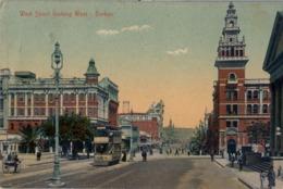 1909 SUDAFRICA , TARJETA POSTAL CIRCULADA , WEST STREET LOOKING WEST - DURBAN - Sudáfrica