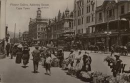 1917 SUDAFRICA , TARJETA POSTAL CIRCULADA , FLOWER SELLERS , ADDERLEY STREET - CAPE TOWN - Sudáfrica