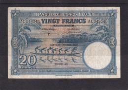 Kongo Congo Belge 20 Fr 1948 Fine - [ 5] Belgisch Kongo