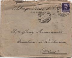 Imperiale Cent. 50 Su Busta Albergo Pesce D'Oro Oleggio Con Annullo Oleggio (Novara) 01.08.1938 - 1900-44 Vittorio Emanuele III