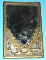 Rare Petit Miroir De Poche Ancien, Laiton Et Verre - Accessories
