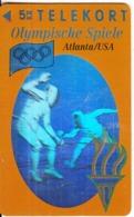 DENMARK - Atlanta 1996 Olympics, Fencing(3D Card), Tirage 6000, 02/94, Mint - Sport