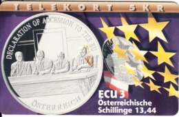 DENMARK(chip) - Declaration Of Accession To The EU/Osterreigh, ECU Series/Austria, Tirage 700, 07/97, Mint - Dänemark