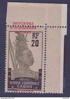 Gabon N�94b Guerrier 20c Surch Variete Surcharge Renversee ** SUP Cdf Sign� - Gabon (1886-1936)