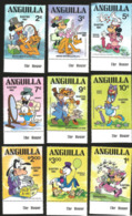 J) 1981 ANGUILLA, MINNIE MOUSE, DAISY DUCK, HORACE HORSECOLLAR AND CLARABELLE COW, MICKEY MOUSE, PLUTO, DEWEY, DONALD, E - Anguilla (1968-...)
