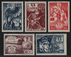 Russia / Sowjetunion 1938 - Mi-Nr. 652-656 * - MH - Komsomol - 1923-1991 URSS