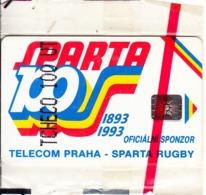 CZECHOSLOVAKIA(chip) - Sparta Praha Rugby, Chip SC5, 11/92, Mint - Tchécoslovaquie