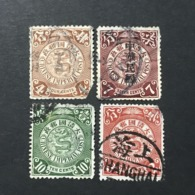 ◆◆◆CHINA 1898-12 EMPIRE Coiling Dragon  4 Stamps  ◆◆ Damage ◆◆  USED AA4488 - Usados