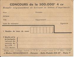 Carte Concours De La 500.000 4CV, 1954 PARIS, Maitre DESAGNEAUX, 135 X 105 Mm - Unclassified
