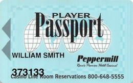 Peppermill Casino Reno, NV - 7th Issue Light Blue Slot Card - Casinokaarten