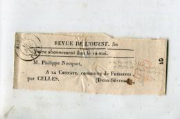 """79 - Fressines : Bande Pour Journaux """" Revue De L' Ouest """" - Cachet Niort 1852 - Entiers Postaux"""