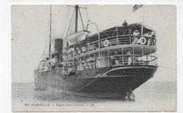 MARSEILLE - N° 293 - DEPART D' UN COURRIER AVEC PERSONNAGES - CPA NON VOYAGEE - Marseilles