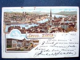 Suisse , Gruss Aus Zurich De  1898.....timbres Et Cachets Au Verso - Schweiz
