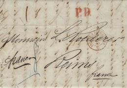 """1860- Lettre De St Petersbourg  Pour Reims  P.D . Rouge + """" Franco """" Entrée Prusse à Erquelines """" Rouge - Marcophilie (Lettres)"""
