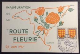 CM296 Carte Maximum Barentin Inauguration De La Route Fleurie 23/6/1957 T 1003 - Cartes-Maximum