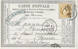 1874- C P Précurseur De Dijon ( Cote D'or ) Cad T17 Affr. N°59 Oblit. Cad Bureau De Passe 1307 - 1849-1876: Période Classique