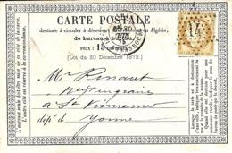 1875- C P Précurseur De PARIS  R. DE STRABOURG Affr. N_55 Oblit. étoile 14 - Storia Postale