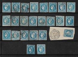 France émissions De Bordeaux De 1870 20ct Bleu 24 Exemplaires Oblitéré  Report A Identifier Forte Cote - 1870 Ausgabe Bordeaux