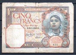 329-Tunisie Billet De 5 Francs 1941 B D5200 Usé - Tunisie