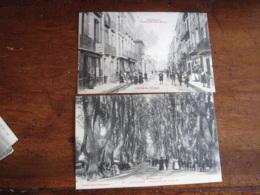 Lot 2 Cartes Perpignan Grande Rue Saint Martin Et Promenade Des Platanes - Perpignan
