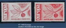 """FR Variété YT 1455 """" Europa """" 1965 Couleur Chocolat Au Lieu De Rouge - Variétés Et Curiosités"""