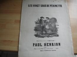 Ancienne Partition Musique Gravure Les 20 Sous De Perinette Paul Henrion Edi Colombier - Musique & Instruments