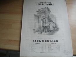 Ancienne Partition Musique Gravure Loin De Sa Mer Paul Henrion - Musique & Instruments
