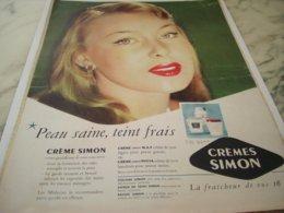 ANCIENNE PUBLICITE PEAU SAINE TEINT FRAIS CREME SIMON  1953 - Perfume & Beauty