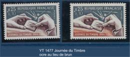 """FR Variété YT 1477 """"Journée Du Timbre """" 1966 Ocre  Au Lieu De Brun - Variétés Et Curiosités"""