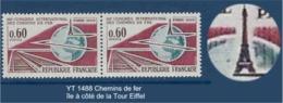 """FR Variété YT 1488 """"Chemins De Fer """" 1966 île Près De La Tour Eiffel - Abarten: 1960-69 Ungebraucht"""