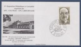 = Exposition Philatélique Evénements Ferroviaires, Ligne Angoulême Bordeaux, Catastrophe De Coutras, N°2148 Le 25.8.1982 - Marcophilie (Lettres)