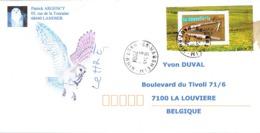 Chouette (hibou) Sur Lettre De 2004 (de Habsheim Vers La Belgique) (Timbre Coutellerie) - Búhos, Lechuza