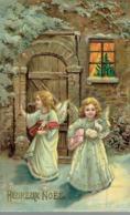 CPA Heureux Noël Avec 2 Anges (a Voyagé Vers 1910) - Noël