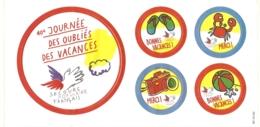 Planche De 5 Autocollants - Secours Populaire Français : 40e Journée Des Oubliés Des Vacances - Aufkleber
