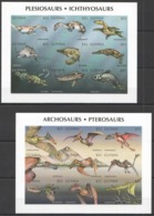S087 !!! IMPERFORATE GUYANA DINOSAURS ARCHOSAURS PLESIOSAURS !!! 2KB(18ST) MNH - Stamps