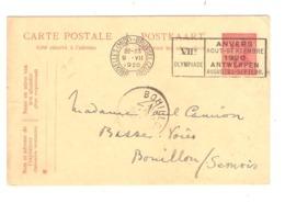 REF14/ Entier CP 62 Albert Casqué C.BXL Midi 9/7/20 + Flamme Anvers Jeux Olympiques > Bouillon C.d'arrivée - Ete 1920: Anvers