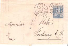 Vosges :- EPINAL RUE D'ARCHES Dateur Type A1 Sur 15c.Sage Perforé B.M. (BANQUE MULHOUSIENNE) - Marcophilie (Lettres)