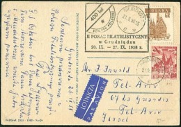 POLAND 1958 GRUDZIADZ Philatelic Exhibition Illustrated Card Posted By Air To Israel - Covers & Documents