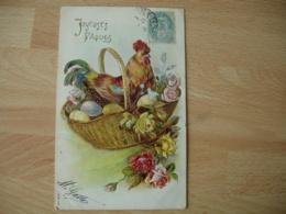 Rehausse Dore Coq Poule Panier Oeuf   Carte Fantaisie Gaufree - Fancy Cards