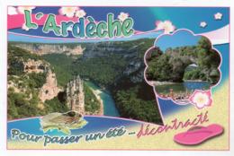 CPM - A - ARDECHE - POUR PASSER UN ETE ... DECONTRACTE - LA CATHEDRALE ET L'ARDECHE - LE PONT D'ARC - France