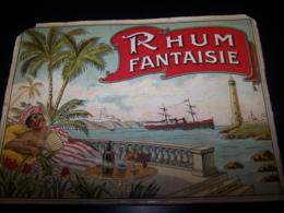 Etiquette Vernie Ancienne Rhum Fantaisie Plouviez N°525 Rare Label Lithographie Litho Femme Noire Nu Sein Bateau Phare - Rhum